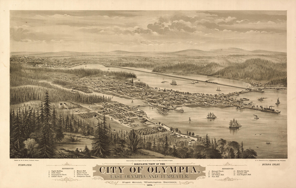 Bird's-eye view of the city of Olympia, Record Series, Map Records, General Map Collection, 1851-2005, Washington State Archives, Digital Archives.
