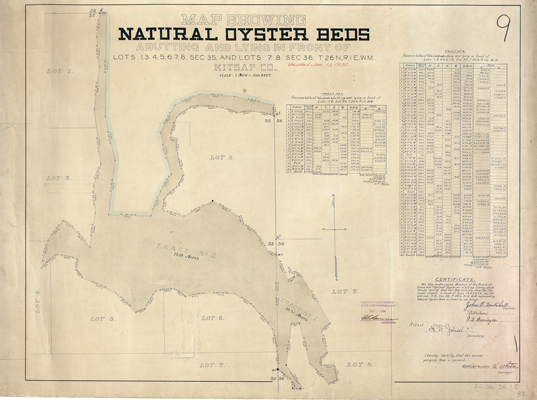 Map showing natural oyster beds, Map Records, General Map Collection, 1851-2005, Washington State Archives, Digital Archives.