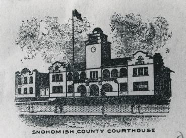 Photograph of a drawing of the Snohomish County Courthouse ca. 1920, artist unknown, General Subjects Photograph Collection, 1845-2005, Washington State Archives, Digital Archives.